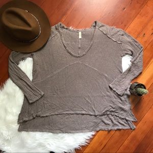 Free People Waffle Knit High Low Thermal Tunic